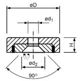 Magnetický prvok plochý so stredovou dierou a 90° zrazením, NdFeB, economy