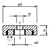 Magnetický prvok plochý so stredovým závitom, NdFeB