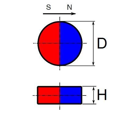 Neodym disk, diametrálna magnetizácia